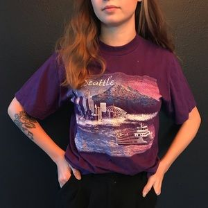 Vintage Seattle Shirt with hole retro tshirt tee